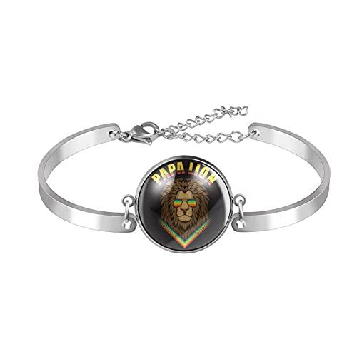 MAPOLO Bracelet Papa Lion with Eyeglasses Bracelet Adjustable Round Glass Dome Cabochon Bangles Stainless Steel DIY Jewelry Making Bracelets 20mm for Men Women Multi