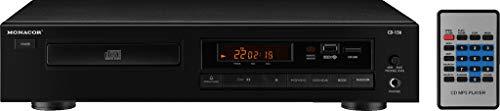 Monacor CD-156 Stereo CD-Player mit USB 2.0-Schnittstelle, MP3-Player für Hi-Fi und ELA-Einsätze, in Schwarz