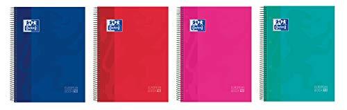 Oxford. Cuaderno Microperforado 10 bandas color, Europeanbook 10 School Classic, Paquete de 5 unidades, Tapa Extradura, A4+, 150Hojas, cuadrícula 5x5.