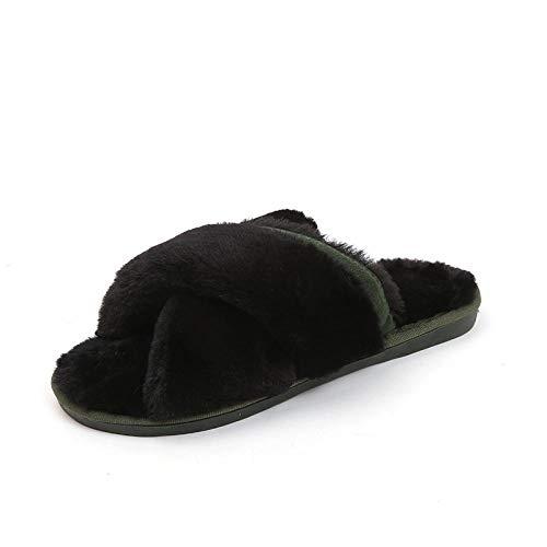 HUSHUI Felpa CóModo Pantuflas,Zapatilla y Pantuflas cálidas de Fondo Grueso, Felpa Interior algodón-Negro_41,Zapatillas de Algodón con Memoria