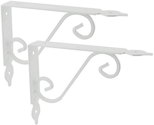 DX Tablet Stand Paar Rustieke Decoratieve Beugels, Klassieke Gebogen Wandplank Ondersteuning, Wandplank voor Tabletten (Zwart, Wit)