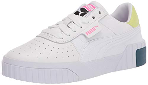 PUMA Women's Cali Sneaker, White-Luminous Pink, 5.5 (Apparel)