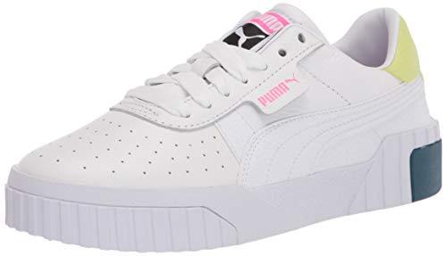 PUMA Women's Cali Sneaker, White-Luminous Pink, Numeric_5_Point_5