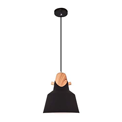 Homemania Lámpara de techo Jasmin, de techo, negro, roble de madera, metal, 22 x 22 x 120 cm, 1 x máx. 40 W, E27