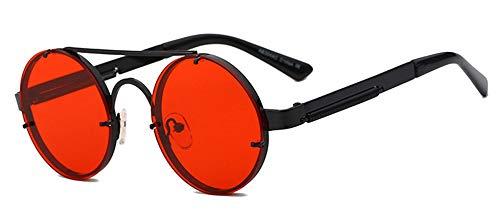 Gafas de sol redondas de Qiuling, estilo retro, estilo steampunk, clásicas, retro, para hombre y mujer, protección UV400, marco de metal, negro rojo