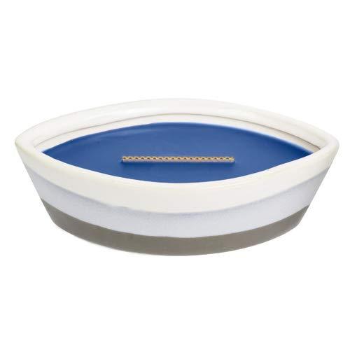 Woodwick, Vela de Cruce, cerámica, Azul, 11,8x 20,5x 6,8cm