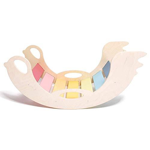 """Kinder Kinderwippe """"Birdie"""" aus Holz – handgefertigt, ideal zum Balancieren, fördert Motorik und Körpergefühl, für Jungen und Mädchen ab 12 Monaten, weiß, bunt"""