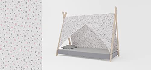 Meblex Cama tipo tipi para niños en madera natural, para niñas y niños, tamaño 160 x 80 cm, color blanco - rosa gris estrellas