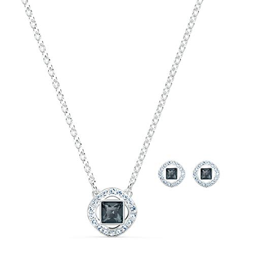 Swarovski Angelic Square Necklace and Pierced Earrings Jewelry Set, with Dark Grey and White Crystals and Rhodium Plated Setting, an Amazon Exclusive
