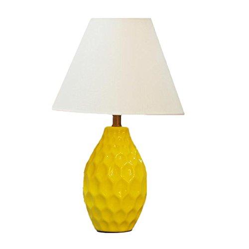 ZWL Lampe de bureau en céramique, chambre à coucher Lampe de chevet Décoration de salon Hôtel Chambre Lampe de table Simple moderne E27 Night Light 35 * 56cm fashion.z ( Couleur : Le jaune )