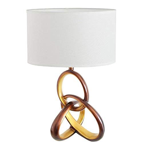 Kaper Go Pantalla de tela blanca, material de resina dorada, entrelazado, tres anillas, lámpara de mesita de noche, iluminación de la lámpara, lámpara de salón, lámpara de 56 cm x 36 cm