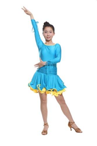 Colorfulworldstore Reguläres Mädchen/Frauen Turnierkleid für Lateinamerikanische Tänze (Mädchen-S-95cm Höhe, Himmelblau)
