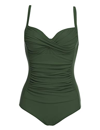 Ekouaer Women's One Piece Swimsuit Plus Size Bathing Suit Bikini Tummy Control Swimwear (Army Green,Small)