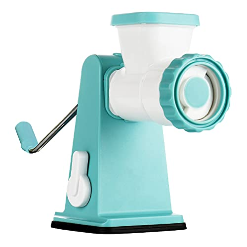 YuuTbiu Small Manual Meat Grinder,Manual Sausage Stuffer Kit with Stainless Steel Blades,Stand Mixer Grinder for Meat,Vegetables,Blue