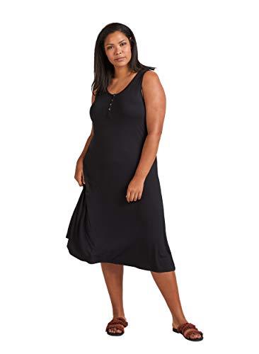 Zizzi Damen Große Größen Kleid aus Viskose mit Rundhalsausschnitt -Schwarz-46-48 (M)
