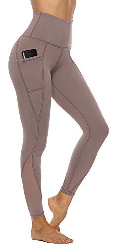 AFITNE Yoga Pants for Women High Waisted Mesh Leggings Tummy Control Athletic Workout Leggings with Pockets Gym Running Leggings Grey - M