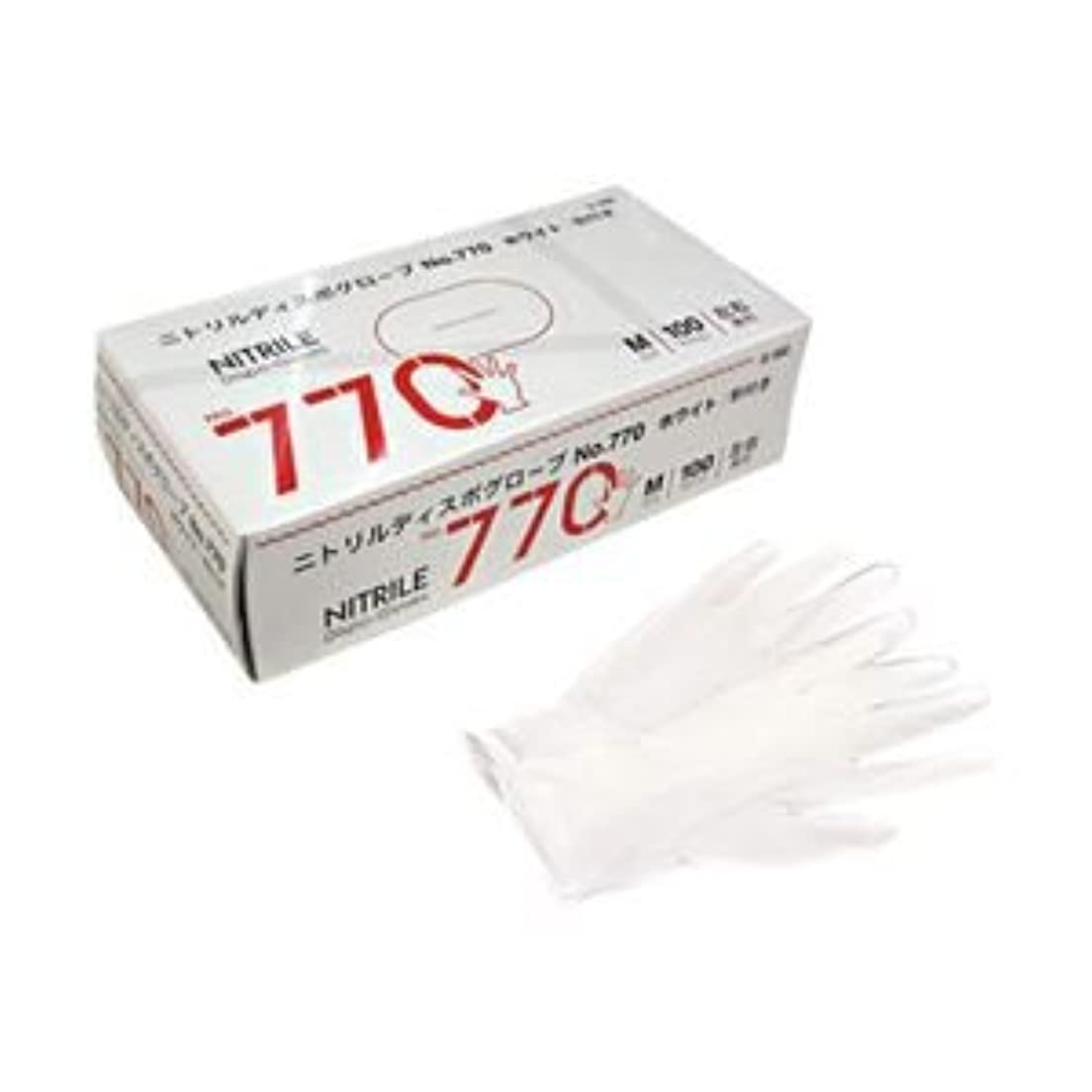 隙間ペック階(業務用セット) 宇都宮製作 ニトリル手袋770 粉付き M 1箱(100枚) 【×5セット】