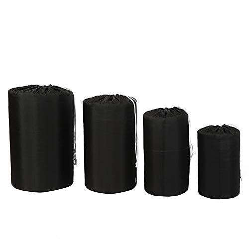 Ultra-light Compression 210D Polyester Oxford Durable Stuff Sacks Water-Resistant Drawstring Ditty Storage Sack, Sleeping Bag Clothes for Camping Travelling Hiking, Black, 1 Set of 4 Pieces