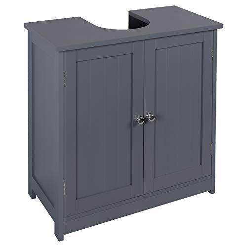 eSituro Mueble Bajo Lavabo Armario de Suelo para Baño Mueble de Baño Organizador Estante de Baño Armario de Almacenamiento, MDF Gris 60x30x60cm SBP0045