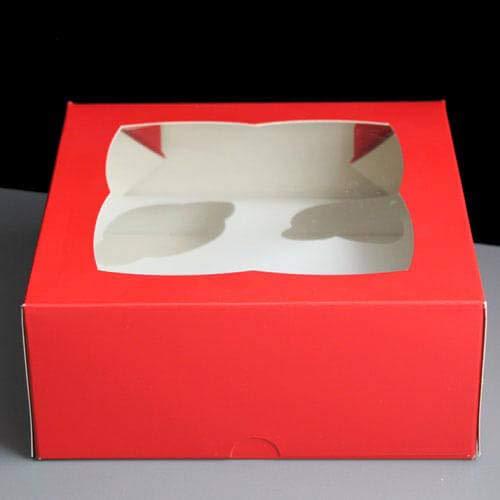 Cater Voor U 4 Cupcake Doos, Kaart, Rood, 17.8x17.8x7.6cm