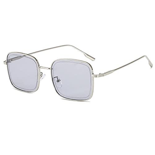 YHKF Gafas De Sol para Mujer Gafas De Sol con Montura Cuadrada De Metal De Moda Mujer-Silver_Gray