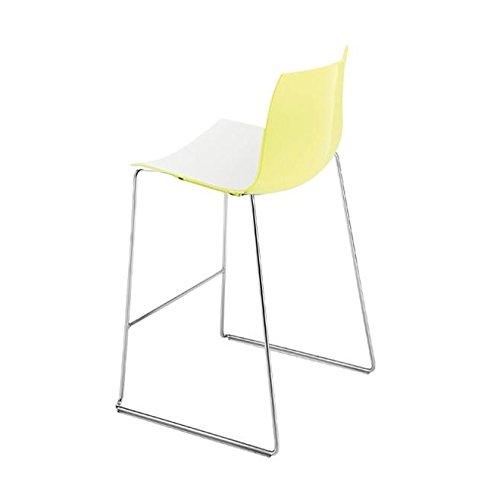 Catifa 46 0474 Barhocker niedrig zweifarbig Chrom, weiß gelb Außenschale glänzend innen matt Gestell verchromt Sitzhöhe 64cm