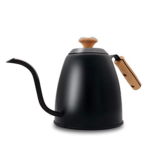 Pour Over Kettle with Thermometer Gooseneck Kettle Tea Pot with Wood Handle Flow Spout Stainless Steel Anti-Rust Design For All Stovetops-40oz
