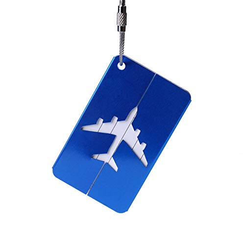 Aluminum Alloy Luggage Tag Metal Airplane Hollow Travel Tag Suitcase Boarding Checked Card Mixproof Name Id Tags-Blue BCVBFGCXVB