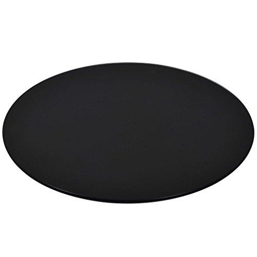 vidaXL Tischplatte Esstischplatte Glasplatte Ersatztischplatte Couchtischplatte Gartentischplatte Gehärtetes Glas Rund 500mm Schwarz