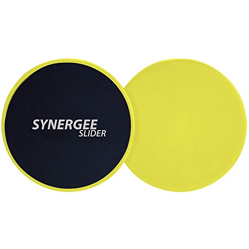 Synergee Yellow Core Sliders. Dual Sided Use on Carpet or Hardwood Floors. Abdominal Exercise Equipment