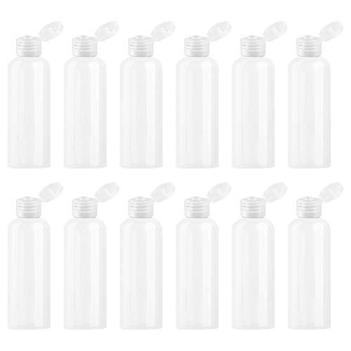 WhyTin Lot de 12 bouteilles de lotion en plastique transparent vides de 100 ml avec bouchons à rabat pour lotions, crèmes, gel douche, après-shampoing