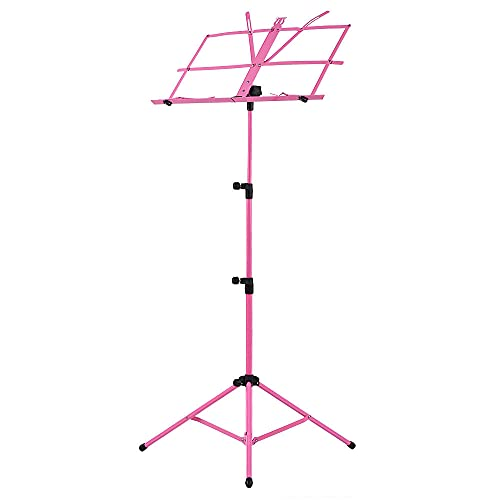WGOEODI Supporto per treppiede Pieghevole per spartiti Musicali, con Borsa per Il Trasporto Impermeabile, per Parti di Accessori per Chitarra Pianoforte Violino,Rosa