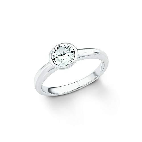 S.Oliver Damen Ring 925 Sterling Silber rhodiniert Kristall von Swarovski weiß