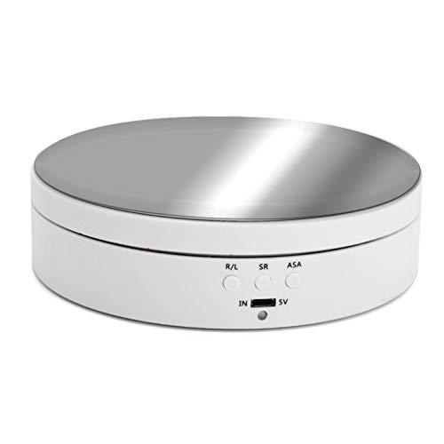 Clenp 360 Grad Elektrischer Drehteller Für Fotografie, Runder Displayhalter Stand Intelligentes Laden Weiß USB-Steckdose