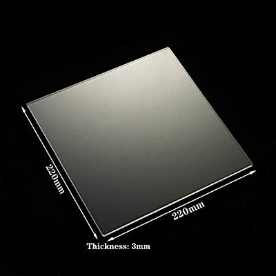 220mm x 220mm x 3mm 3D Printer Borosilicate Glass Build Plate/Bed for MK2/MK2A,Wanhao Duplicator i3, Anet A8, Anet A6, MP Maker Select (220x220x3mm Square)