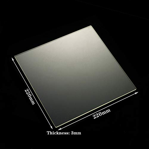 3D Printer Borosilicate Glass Build Plate 220mm x 220mm x 3mm Glass Bed for MK2/MK2A,Wanhao Duplicator i3, Anet A8, Anet A6, MP Maker Select Reprap 3D Printer (220x220x3mm)