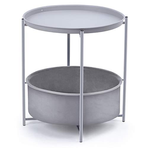 Kingrack Tavolino da caffè rotondo con cestino, tavolino in metallo, comodino con cesto portaoggetti in tessuto e vassoio rimovibile, stile Scandi per soggiorno, camera da letto (grigio chiaro)