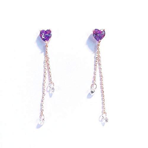 JINGM Élégant Violet Zircon Cubique Amour Coeur Balancent Boucles d'oreilles pour Les Femmes Mode Délicat Gland en Cristal