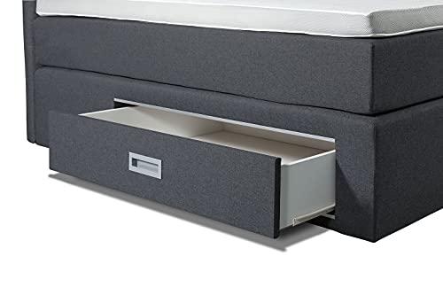 Boxspringbett Ankona 140x200 - Schublade,7 Zonen-Taschenfederkern-Matratzen,H2/H3,Topper Komfortschaum-3D Bezug,Anthrazit