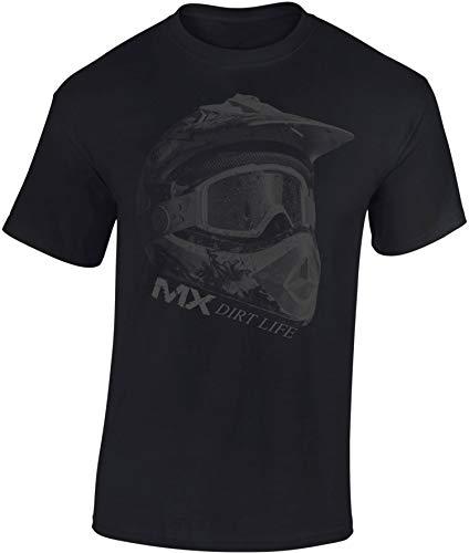 Baddery Camiseta: MX Dirt Life - Regalo Motero-s - T-Shirt Biker Hombre-s y Mujer-es - Motocicleta - Bike - Moto-Cross - Moto - Moto-X- Motociclismo - Downhill - Casco - Freestyle - Diabolo (M)