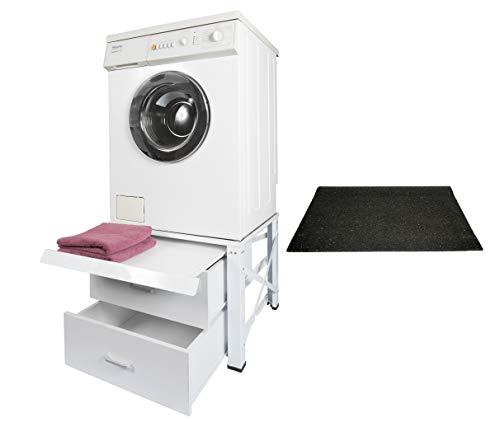 Untergestell für Waschmaschine mit 2 Schubladen Unterschrank Trockner Sockel Podest mit Anti - Vibrationsmatte/Anti - Rutschmatte