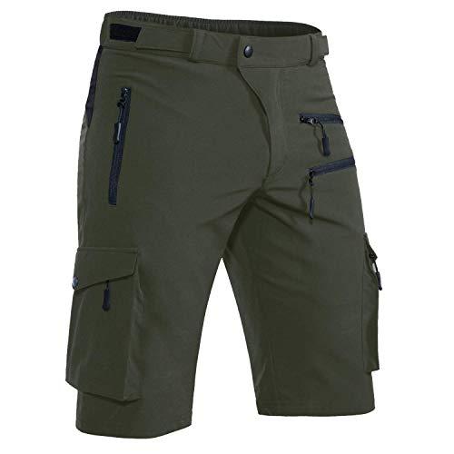 VZTEEK - Pantalones de ciclismo para hombre, transpirables, secado rápido, color verde, tamaño 2XL/cm: (Wasit 92-97 Hip 112-117)