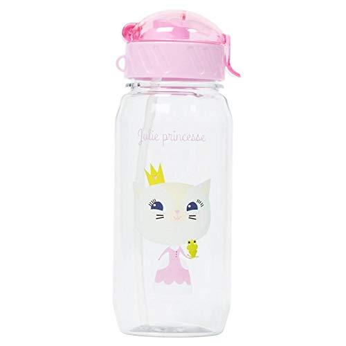 Draeger - Borraccia per bambini, motivo: principessa, riutilizzabile, con cannuccia, senza BPA, lavabile in lavastoviglie