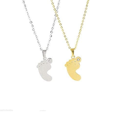 AMOZ Nj Collar Personalizado de Pies de Bebé para Mujer, Huella de Bebé, Nombre, Fecha, Etiqueta Personalizada, Colgante, Collares con Dijes para Nueva Mamá, Abuela,Oro