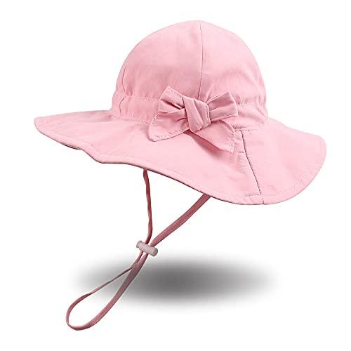 Pesaat Sombrero de verano para niña, protección UV con lazo, gorro de verano para bebé, niña, gorro de verano Rosa. 0-3 Meses