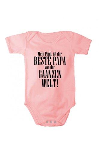 Fabio Farini Baby Body Bedruckt Bester Papa versch. Sprachen 100% Baumwolle Rosa 56 Deutsch