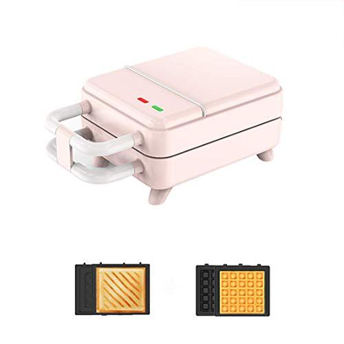 DX wafelijzer 2 in 1, panini-grillmachine, diepte anti-aanbaklaagplaten, 500 W, automatische temperatuurregeling, roze