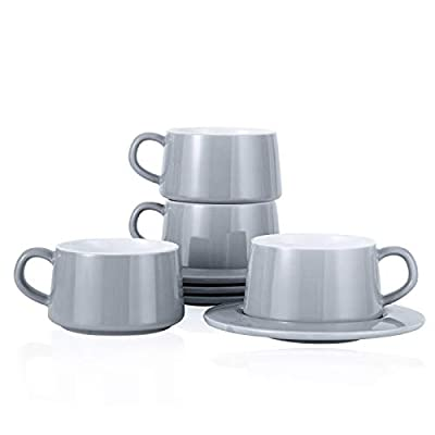 Kanwone Porcelain Stackable Cappuccino Cups with Saucers - 8 Ounce for Specialty Coffee Drinks, Cappuccino, Latte, Americano and Tea - Set of 4, Grey