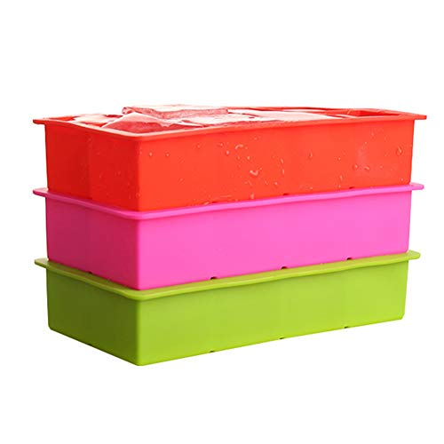 3 stuks grote siliconen ijsblokjesbakjes, vierkante ijsblokjesvormen, food grade flexibele veilige siliconen voor babyvoeding, whiskycocktails