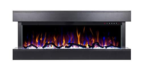 Noble Flame Atlanta schwarz - Elektrokamin Wandkamin Kamin-Ofen – 1090 mm breit inkl. Elektroeinsatz mit Heizfunktion – 3 Flammeneffekte